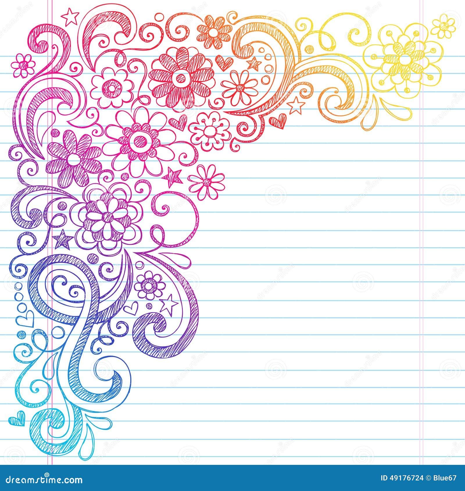 Тетрадь школы цветков схематичная Doodles иллюстрация вектора
