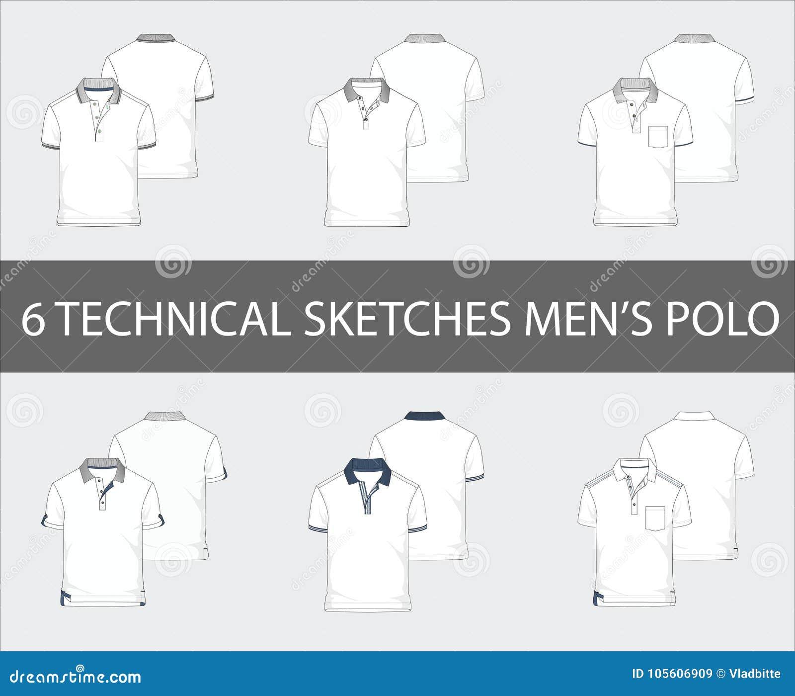 Технические эскизы установили рубашек поло рукава краткости ` s людей