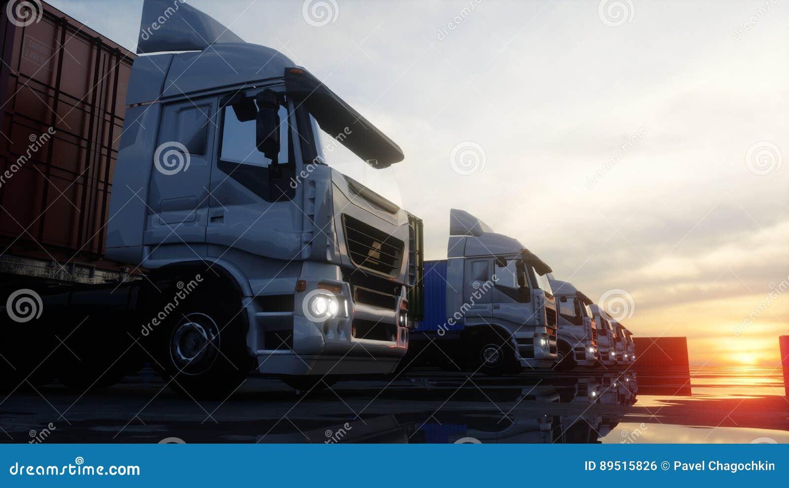 Тележка в депо контейнера, складе, морском порте представленное изображение грузовых контейнеров 3d Концепция логистических и дел