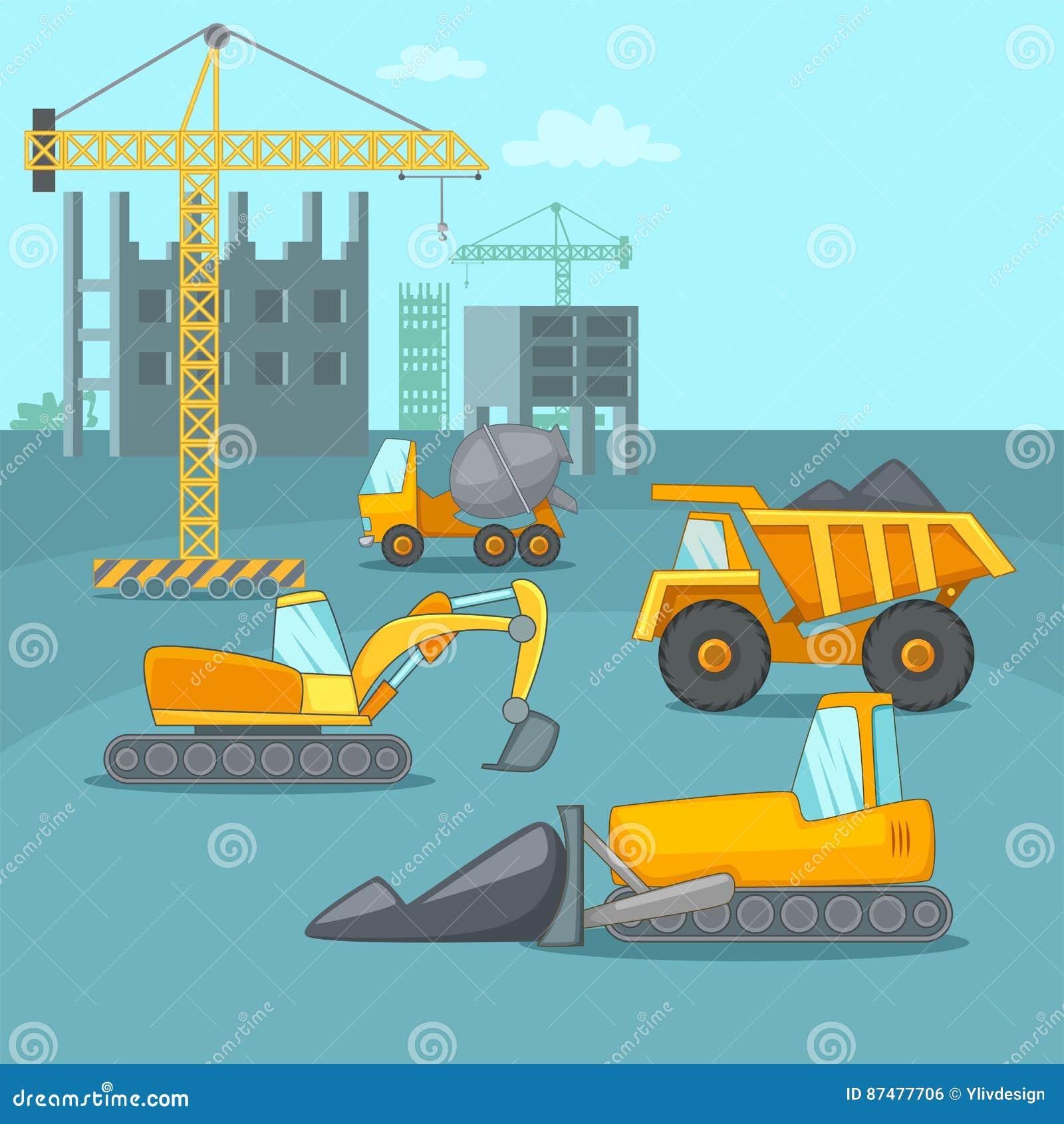 Тележки концепции строительного процесса, стиль шаржа