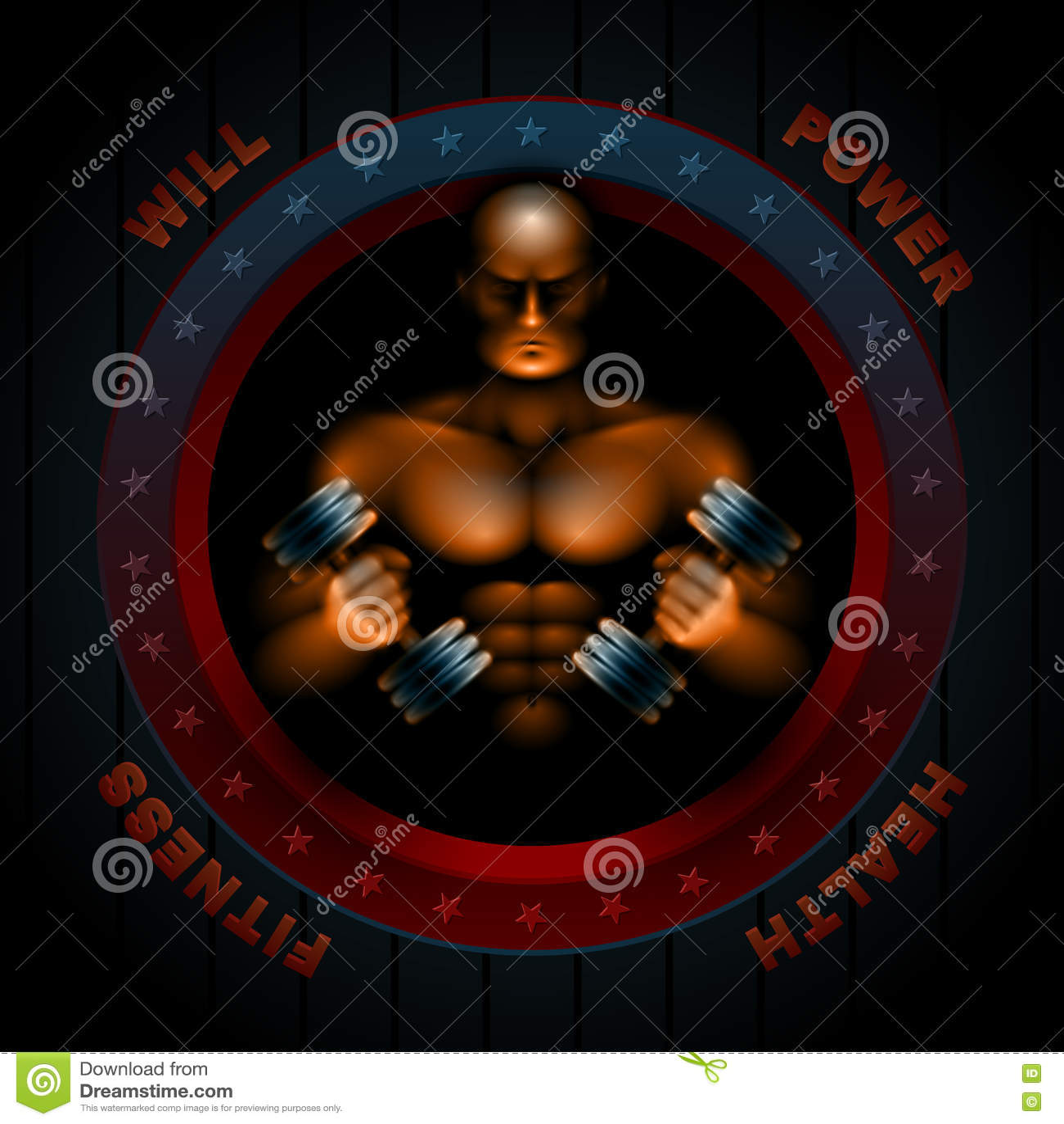 Тело спортзала фитнеса человека спортсмена Muscles гантели