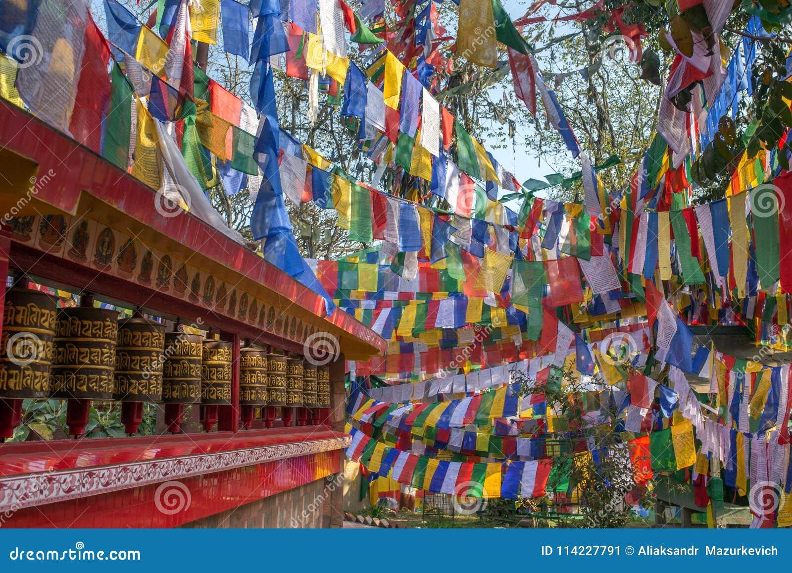 Тибетский буддист сигнализирует и молить катит внутри Darjeeling