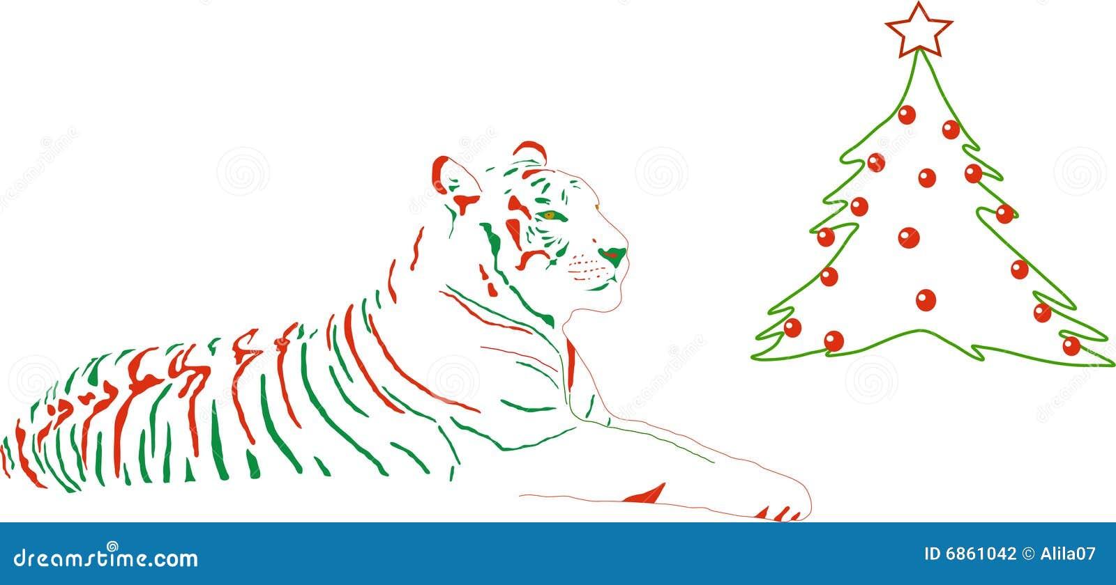 тигр одетьнный рождеством вверх