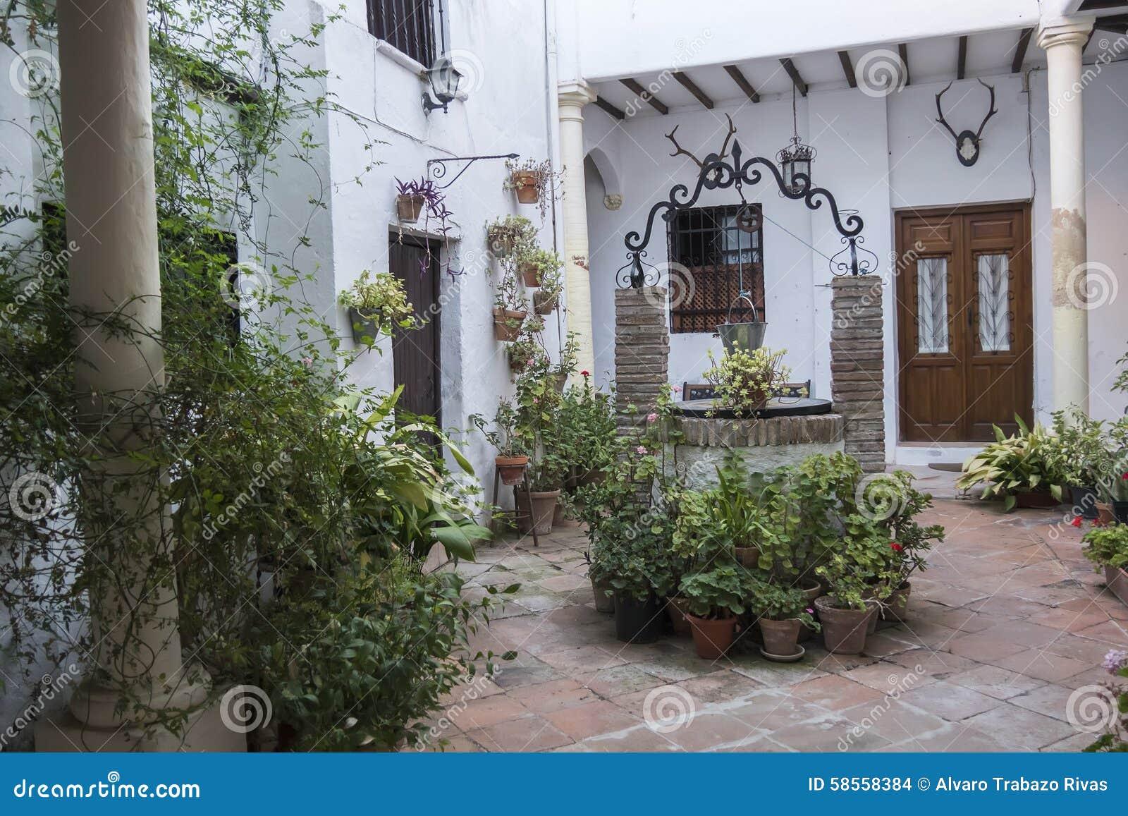 Типичный андалузский двор с много заводами и цветков, Испанией