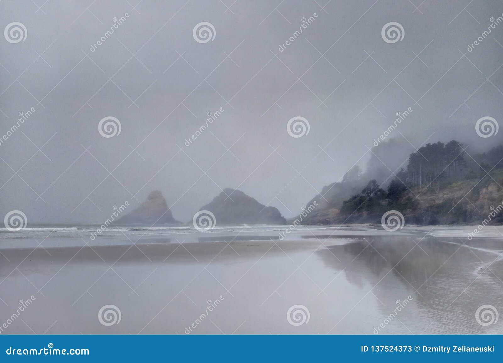 Тихоокеанское побережье рано утром в тумане, Орегоне