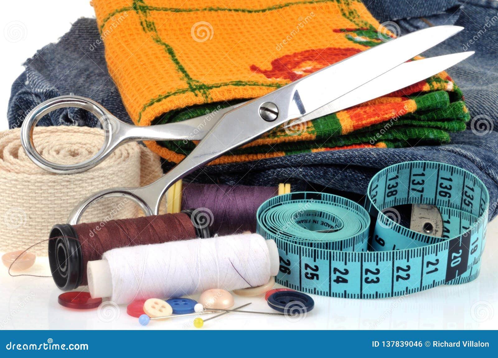 Ткань конца-вверх и шить материал