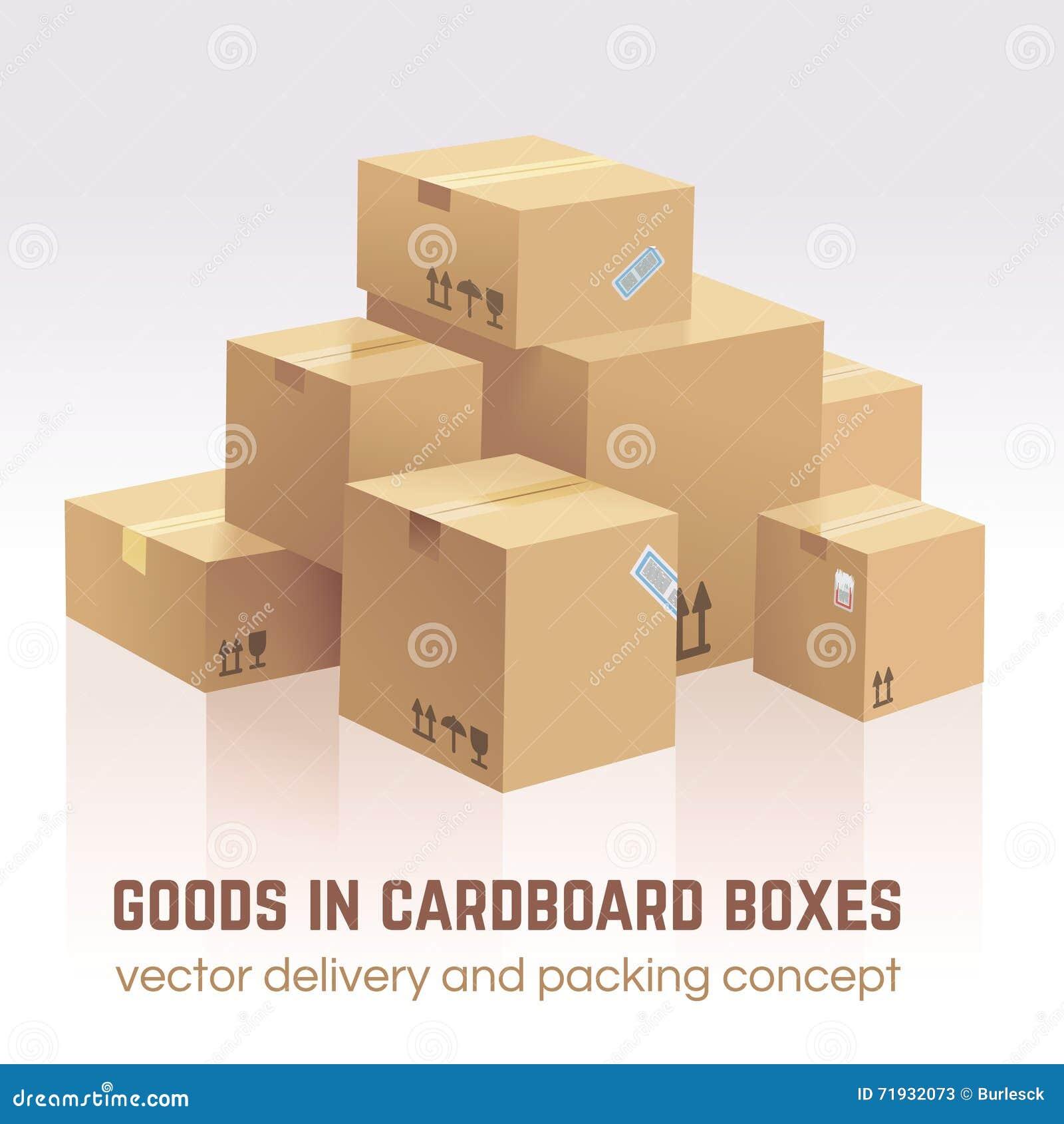 Товары в картонных коробках Поставка вектора и концепция упаковки