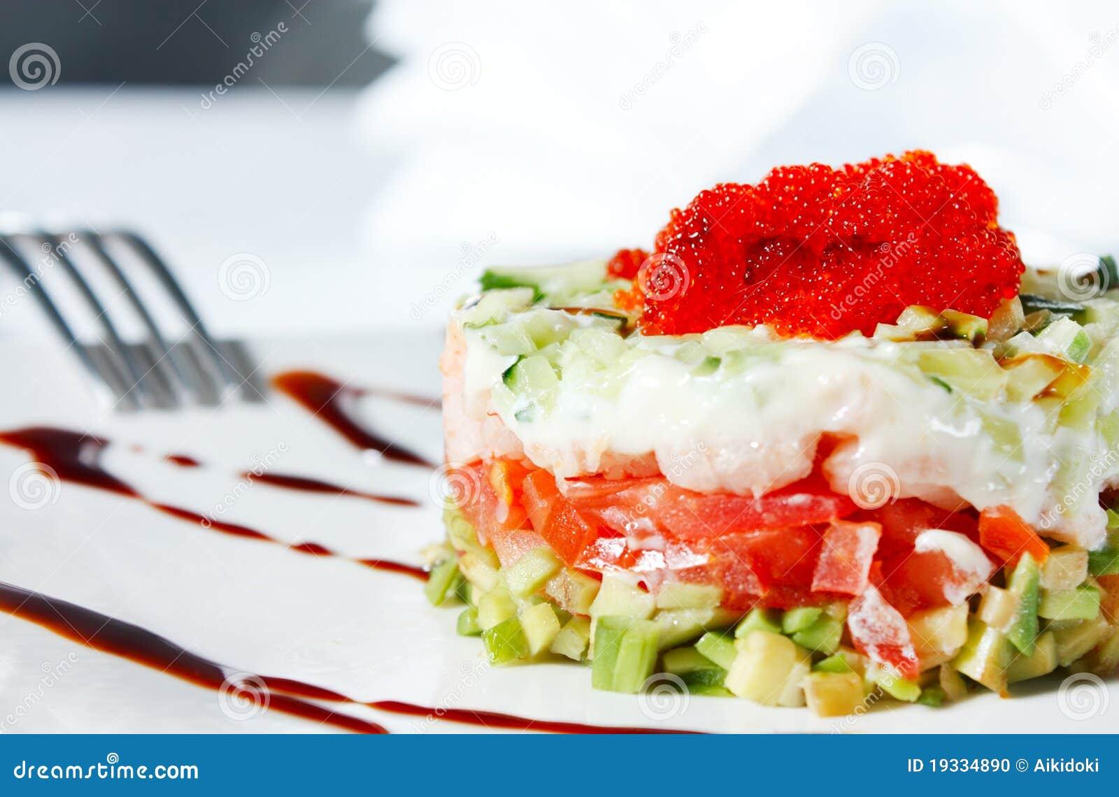 Салат из креветок семги и красной икры рецепты