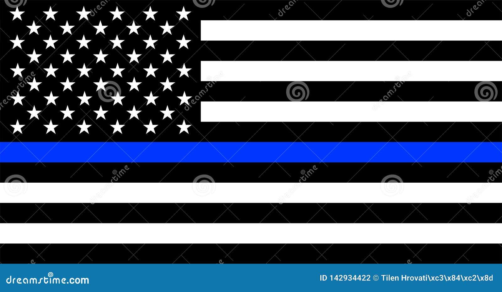 Тонкая голубая линия американский флаг полиции