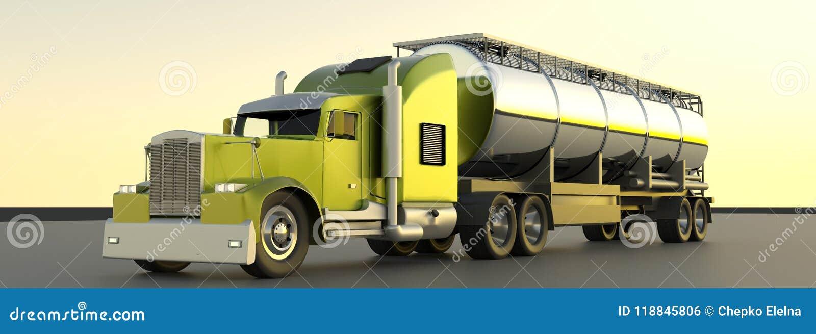 Топливозаправщик бензина перевод 3d Трейлер масла Truc топливозаправщика газа топлива