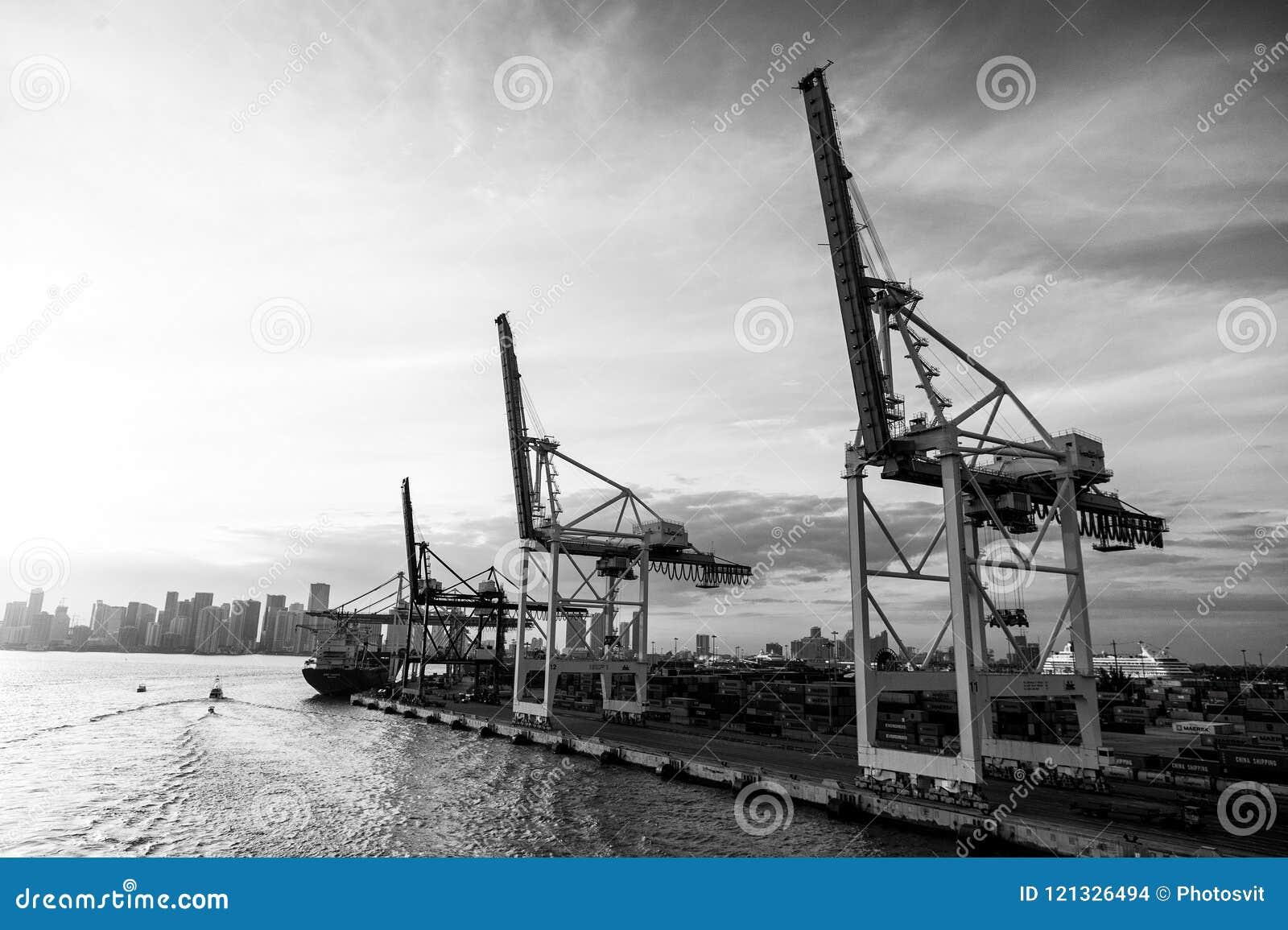 Торговля, коммерция, дело Морской порт контейнера с грузовим кораблем, кранами Морской порт, стержень или док Доставка перевозки