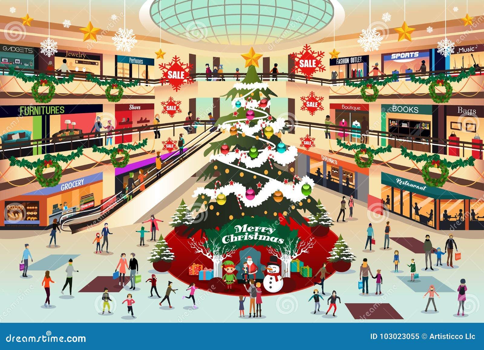 Торговый центр во время иллюстрации рождества