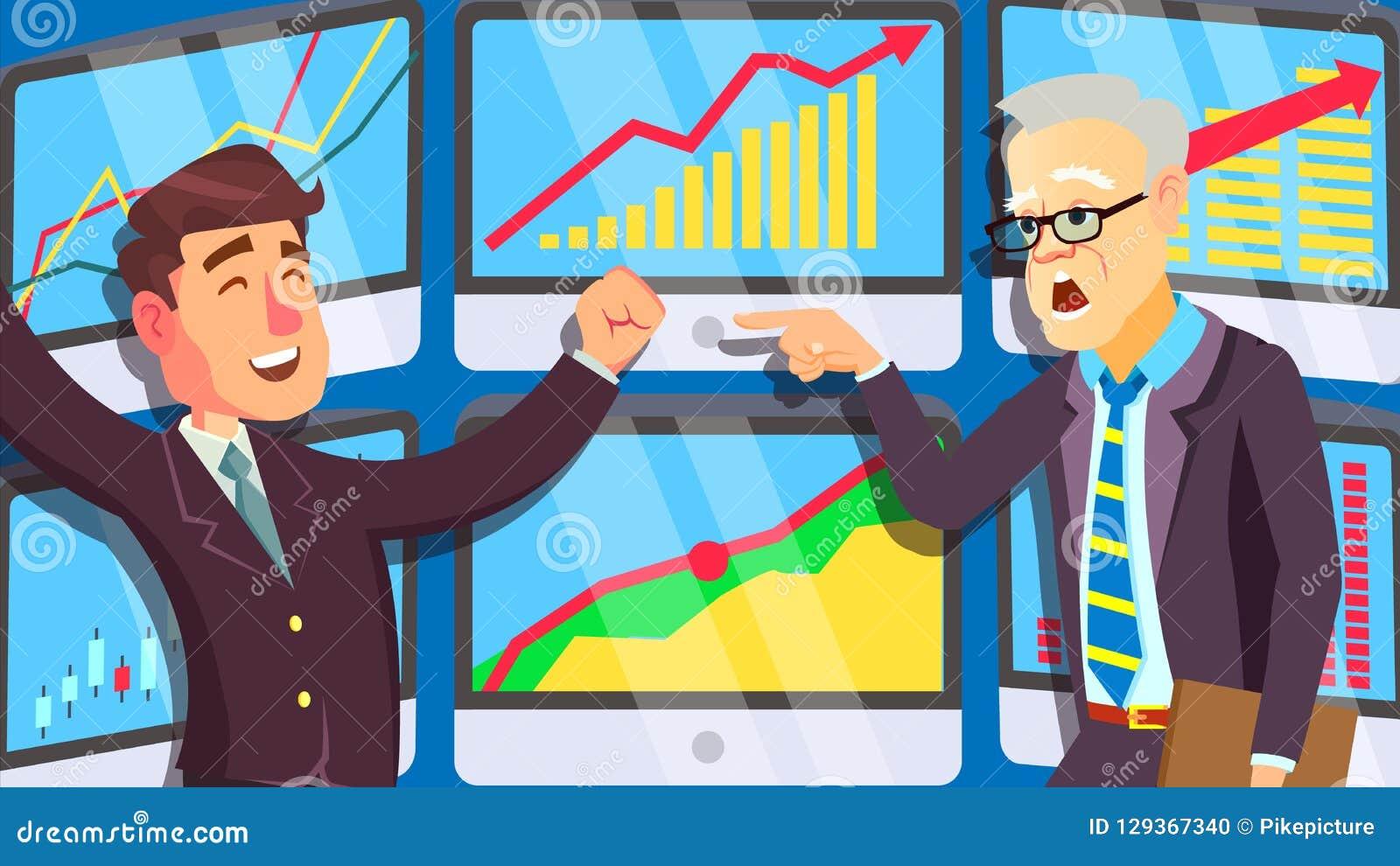 Торгуя рынок, активно крича люди в деловых костюмах на векторе экрана изолированная иллюстрация руки кнопки нажимающ женщину стар