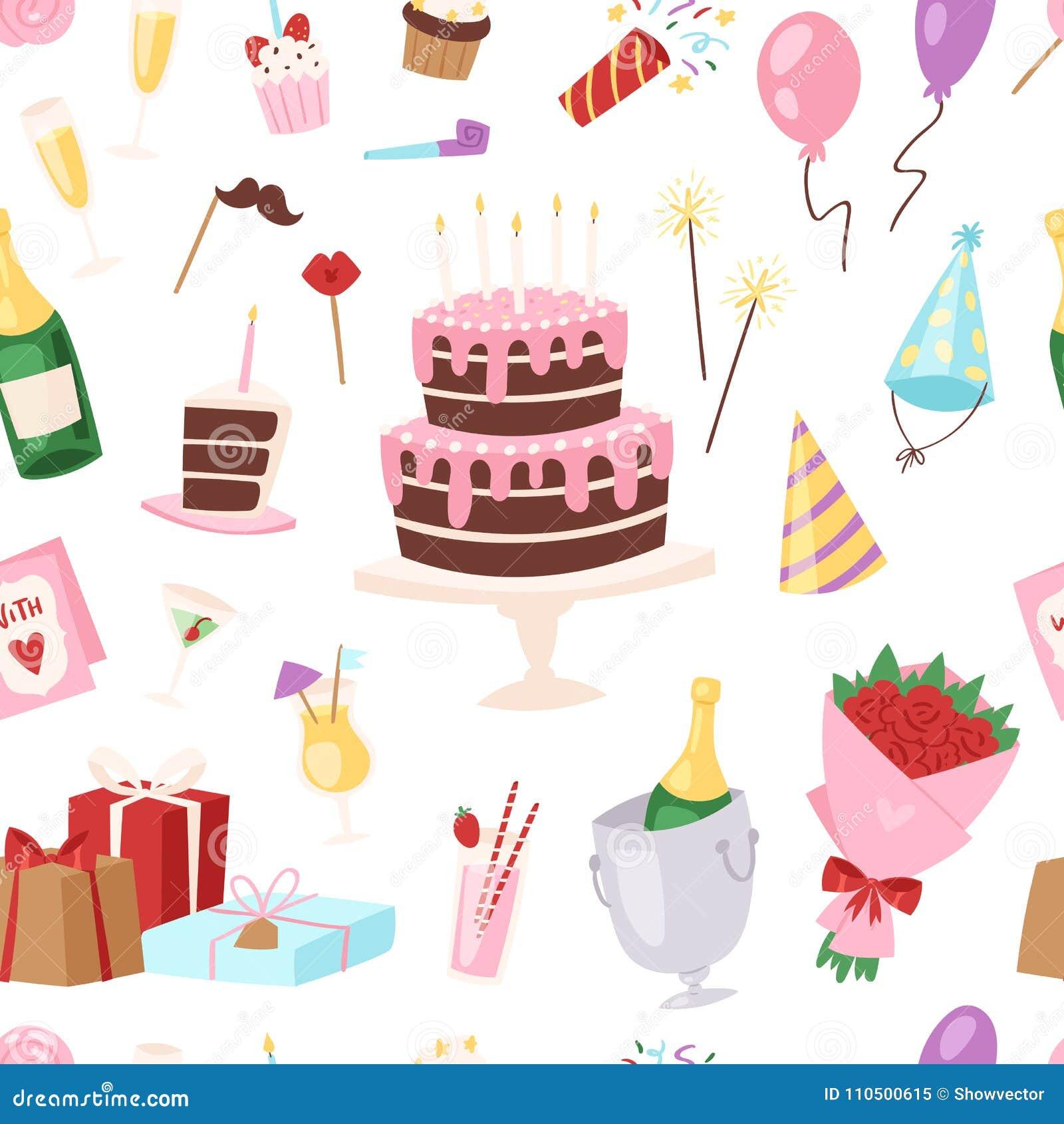 Торжество торта или пирожного рождения childs шаржа вектора партии детей дня рождения счастливое с подарками и с днем рождения ра