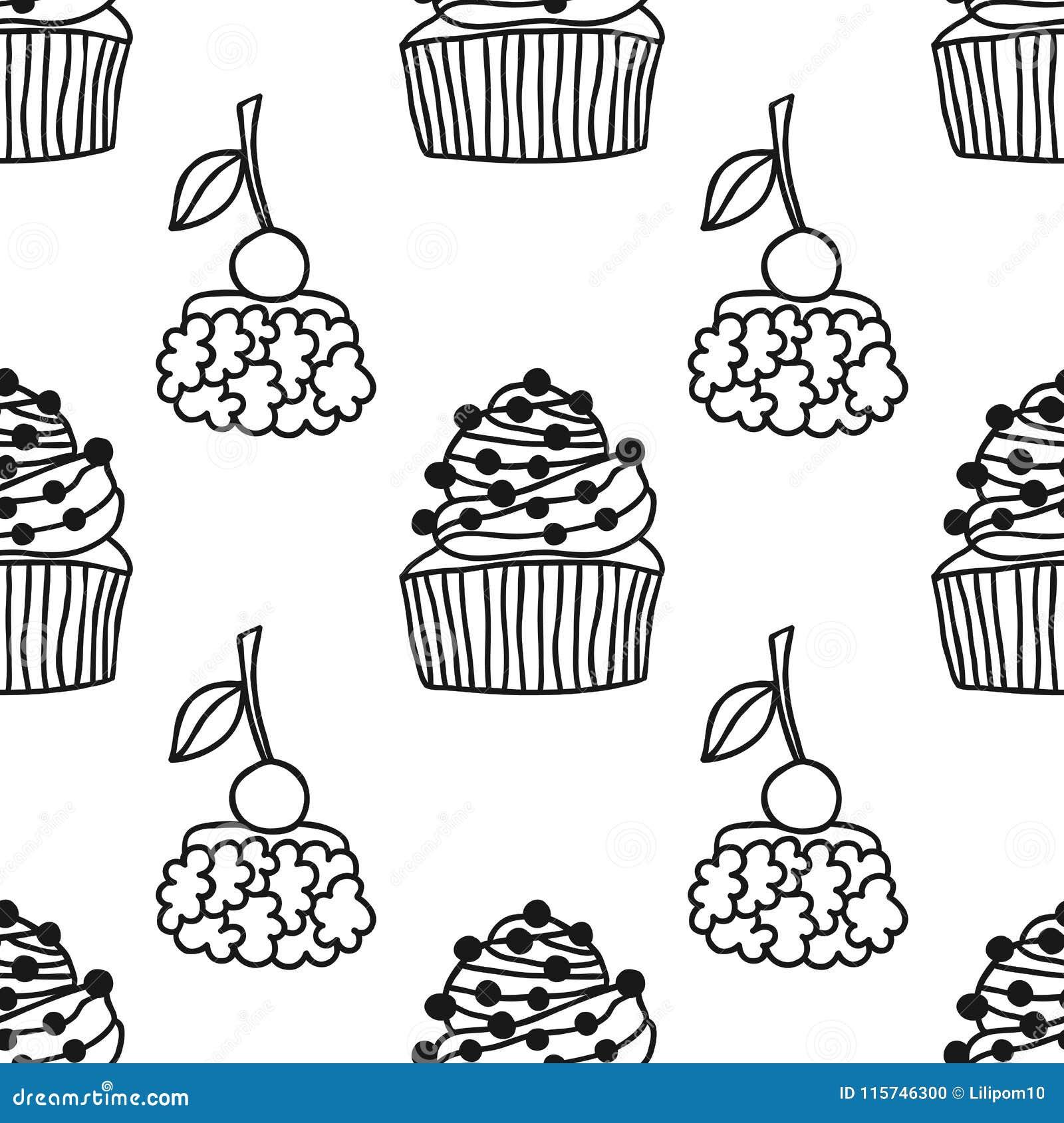 торты сладостный десерт черно белая безшовная картина для