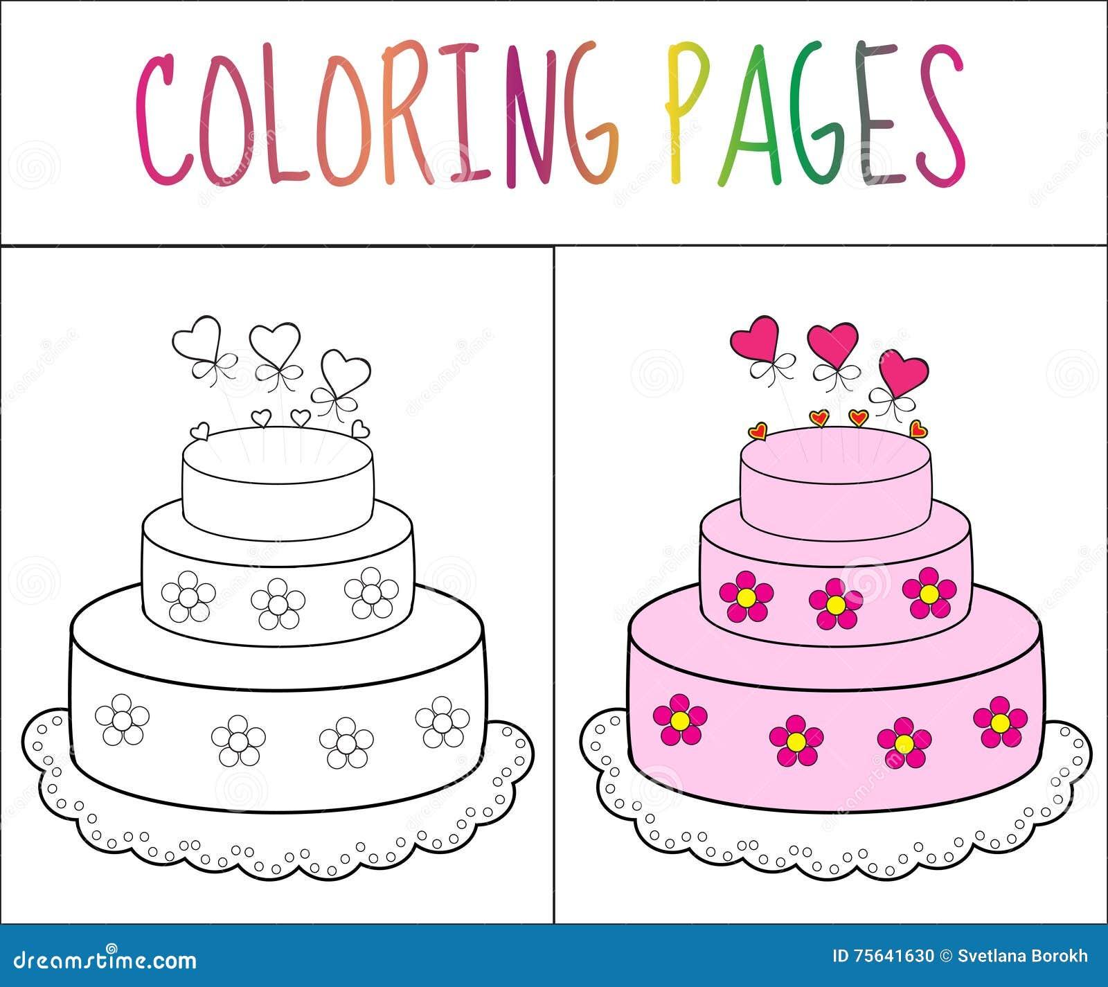 Торт страницы книжка-раскраски Версия эскиза и цвета расцветка для детей также вектор иллюстрации притяжки corel