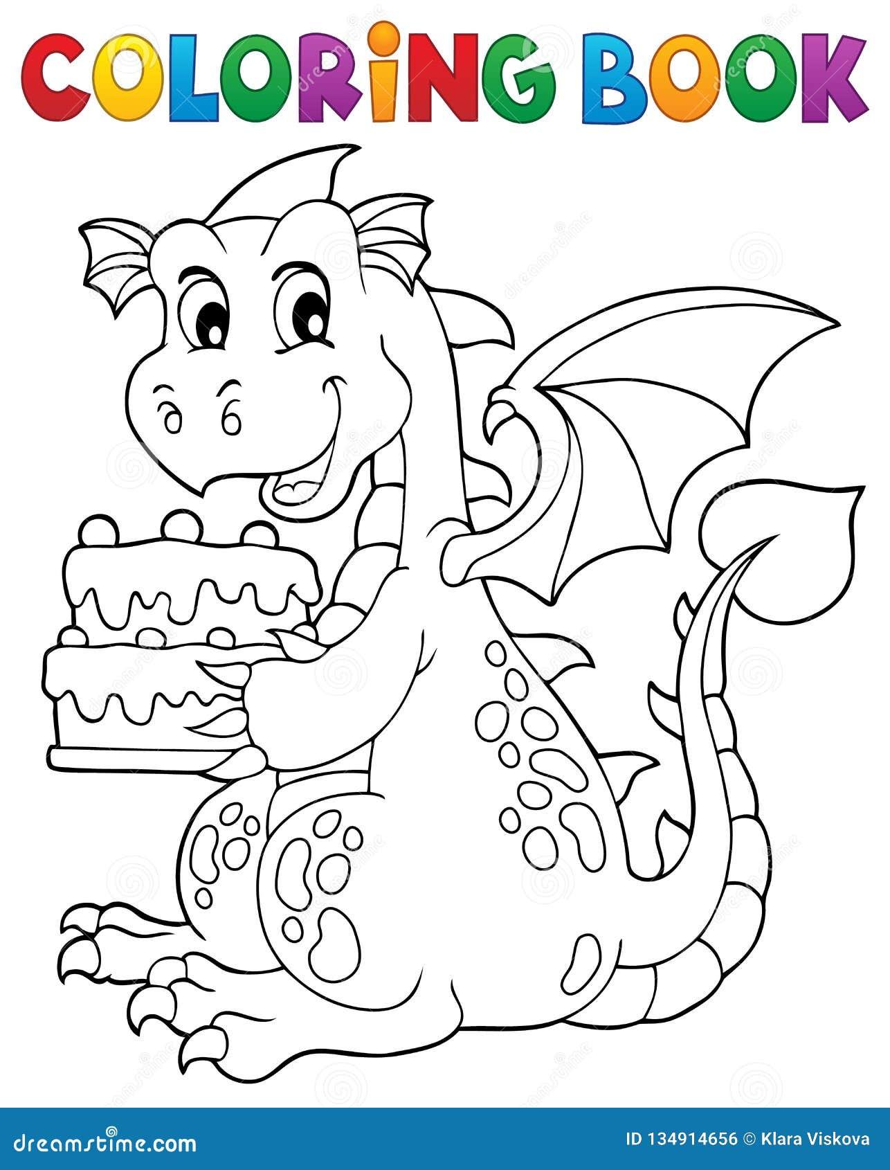 торт 1 удерживания дракона книжка раскраски иллюстрация