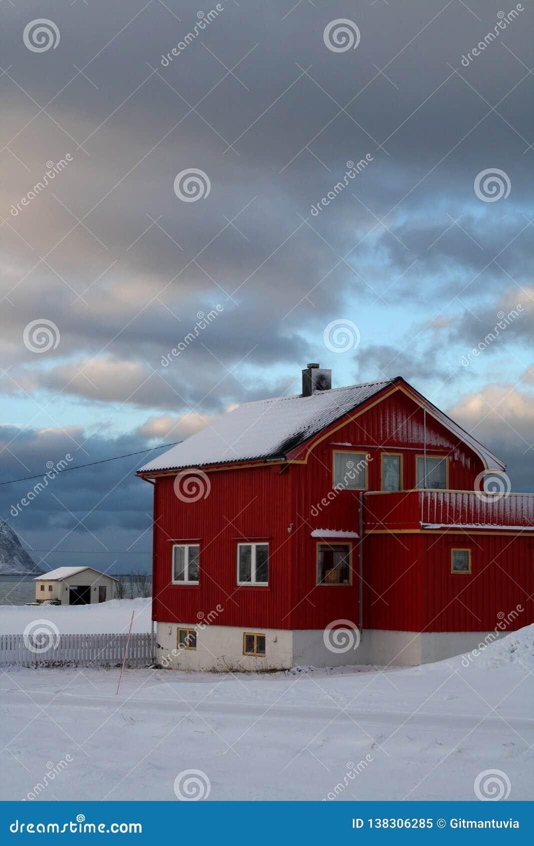 Точка зрения парома домов покрытых со снегом в Lofoten остров-Норвегии
