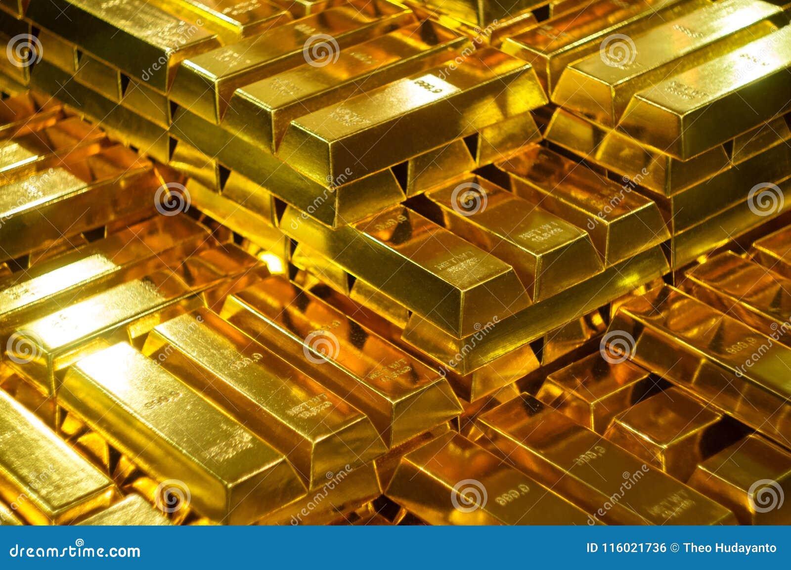 Точное золото в слитках в банковском хранилище