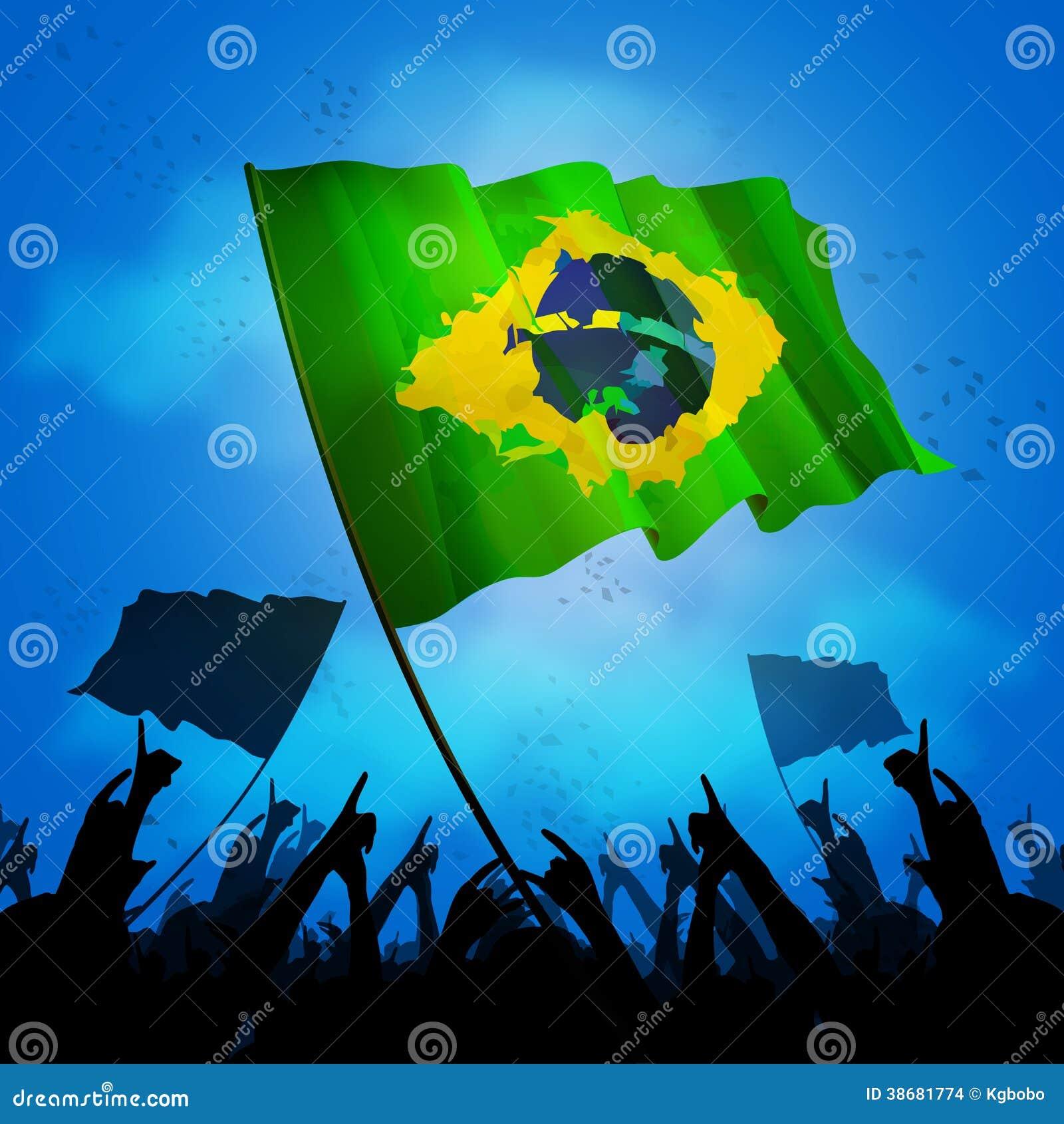 Толпа вентилятора Бразилии с флагом
