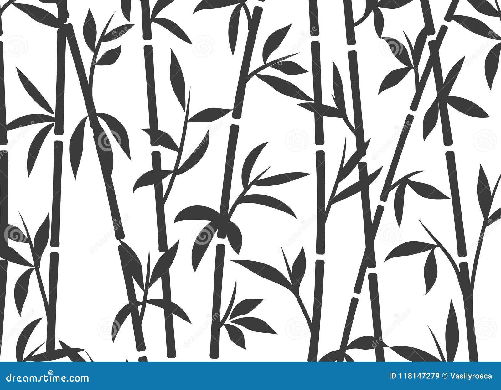 Трава обоев завода бамбуковой предпосылки японская азиатская Бамбуковая картина вектора дерева черно-белая