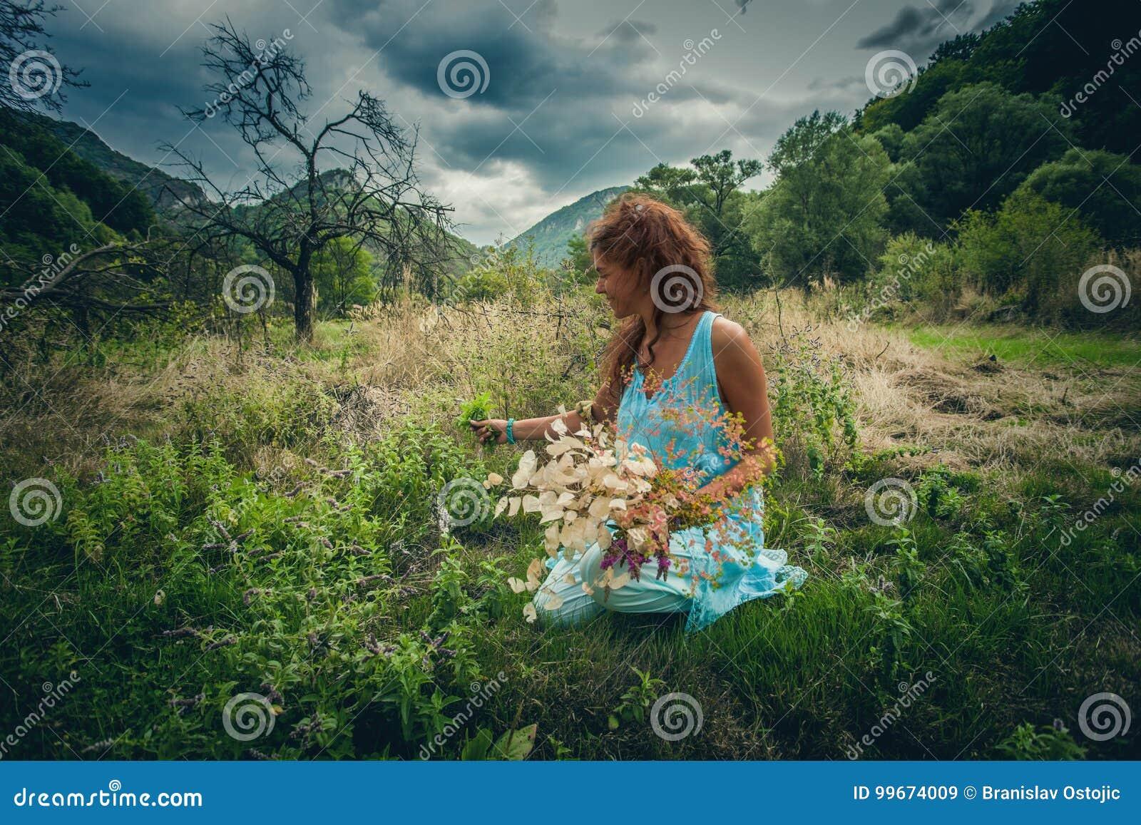 Травы и цветки выбора молодой женщины на чистом одичалом луге горы