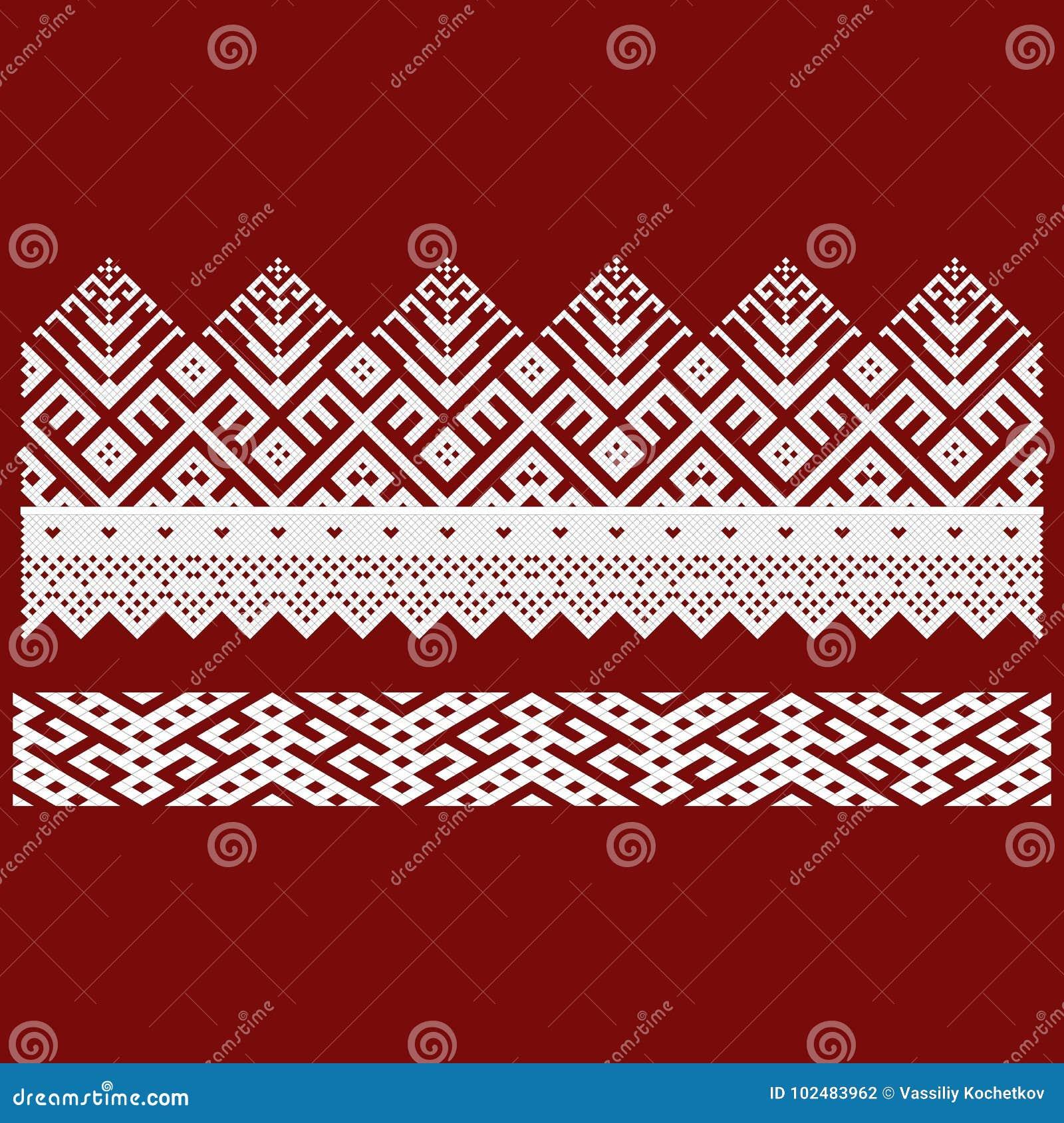 Традиционная вышивка Vector иллюстрация этнических безшовных орнаментальных геометрических картин для вашего дизайна