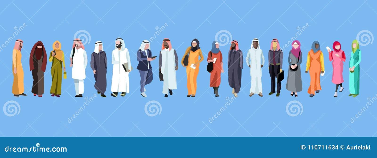Традиционная группа в составе арабские мужчина и женщина