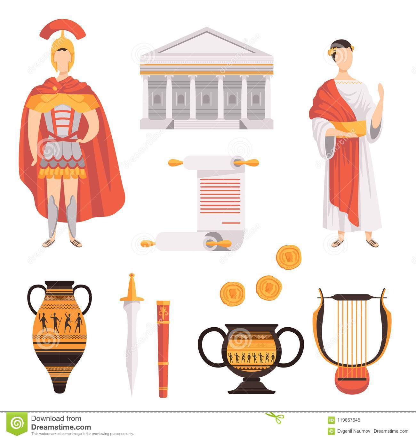 Традиционные символы старых иллюстраций вектора римской империи установленных на белой предпосылке