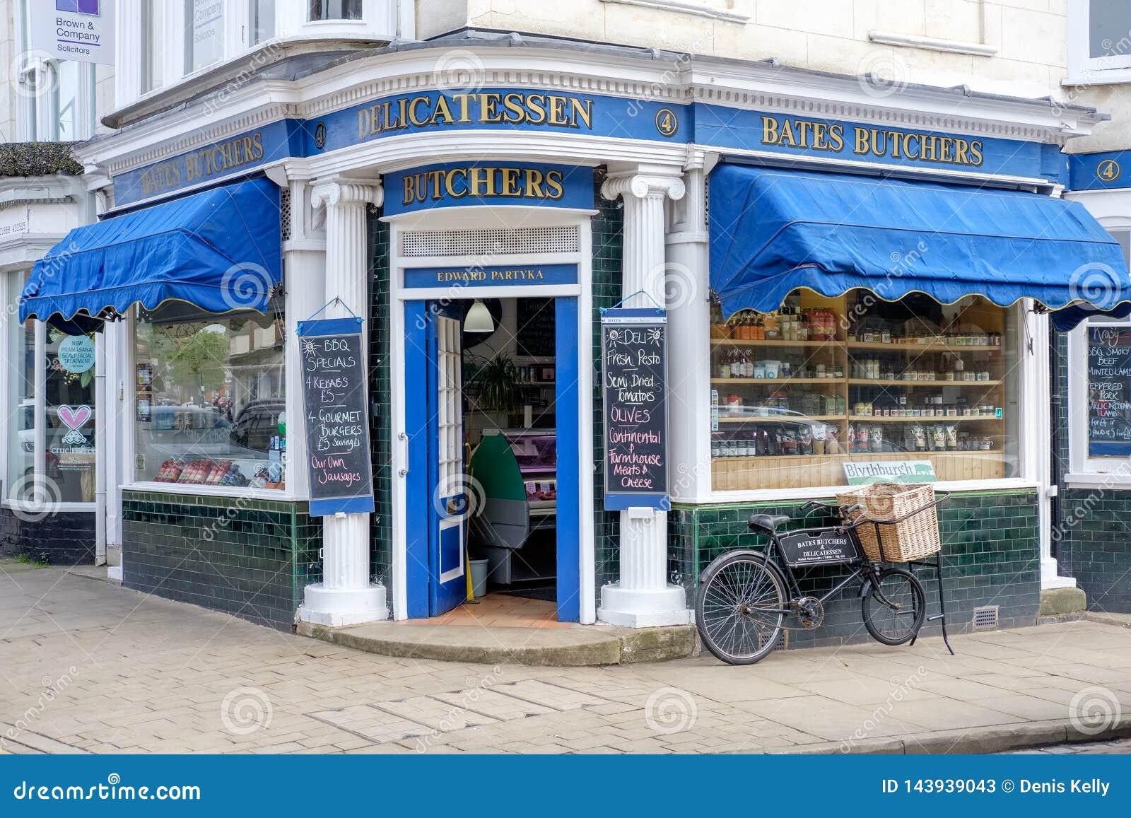 Традиционный магазин мясников в Лестершире, Великобритании