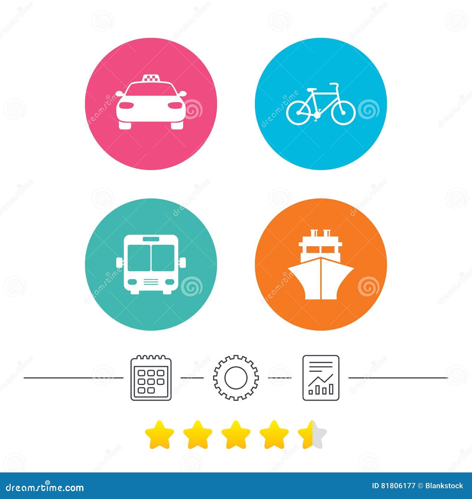 Транспортируйте иконы Ездите на такси автомобиль, велосипед, шина и корабль