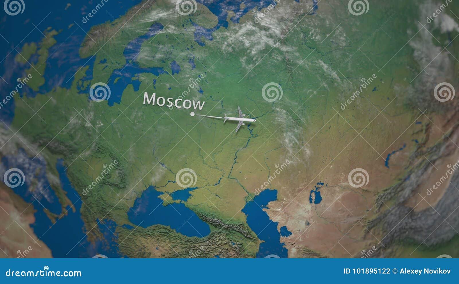 Трасса коммерчески летания самолета от Москвы к токио на глобусе земли Международная анимация вступления отключения