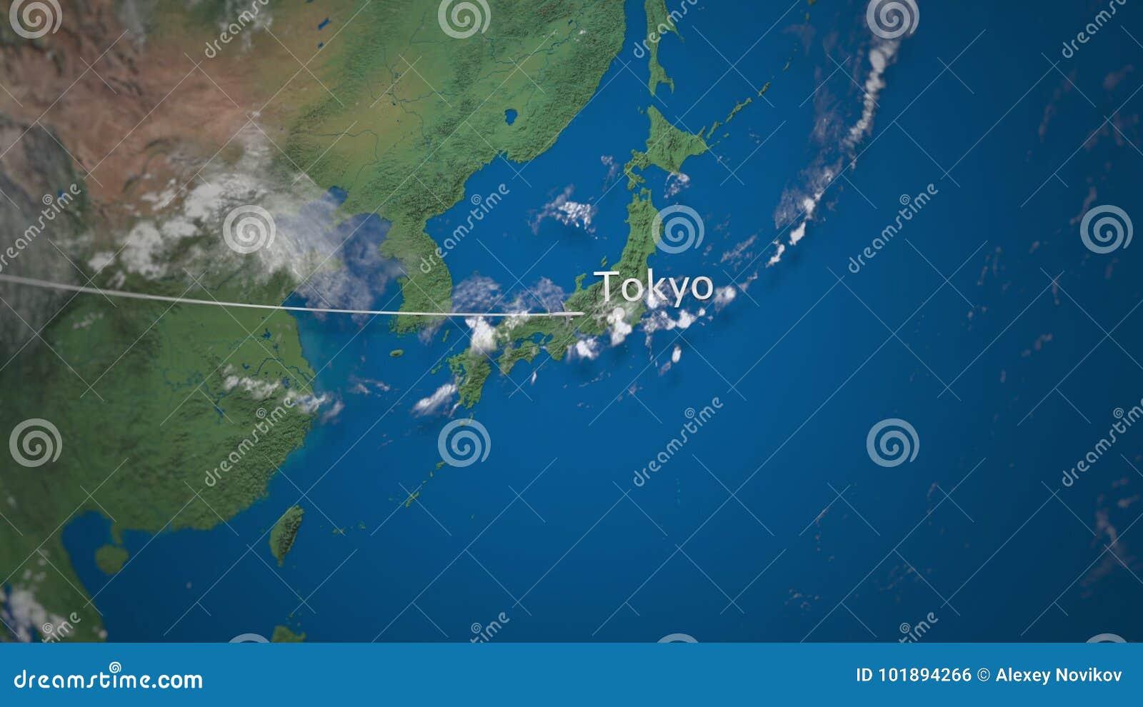 Трасса коммерчески самолета летая к токио на глобусе земли Международный перевод отключения 3D