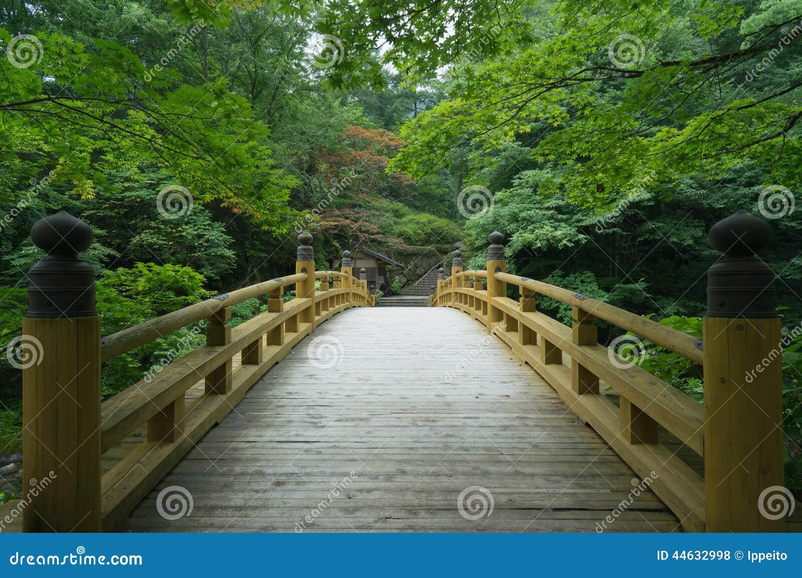 Традиционный деревянный мост в старом японском саде, Киото
