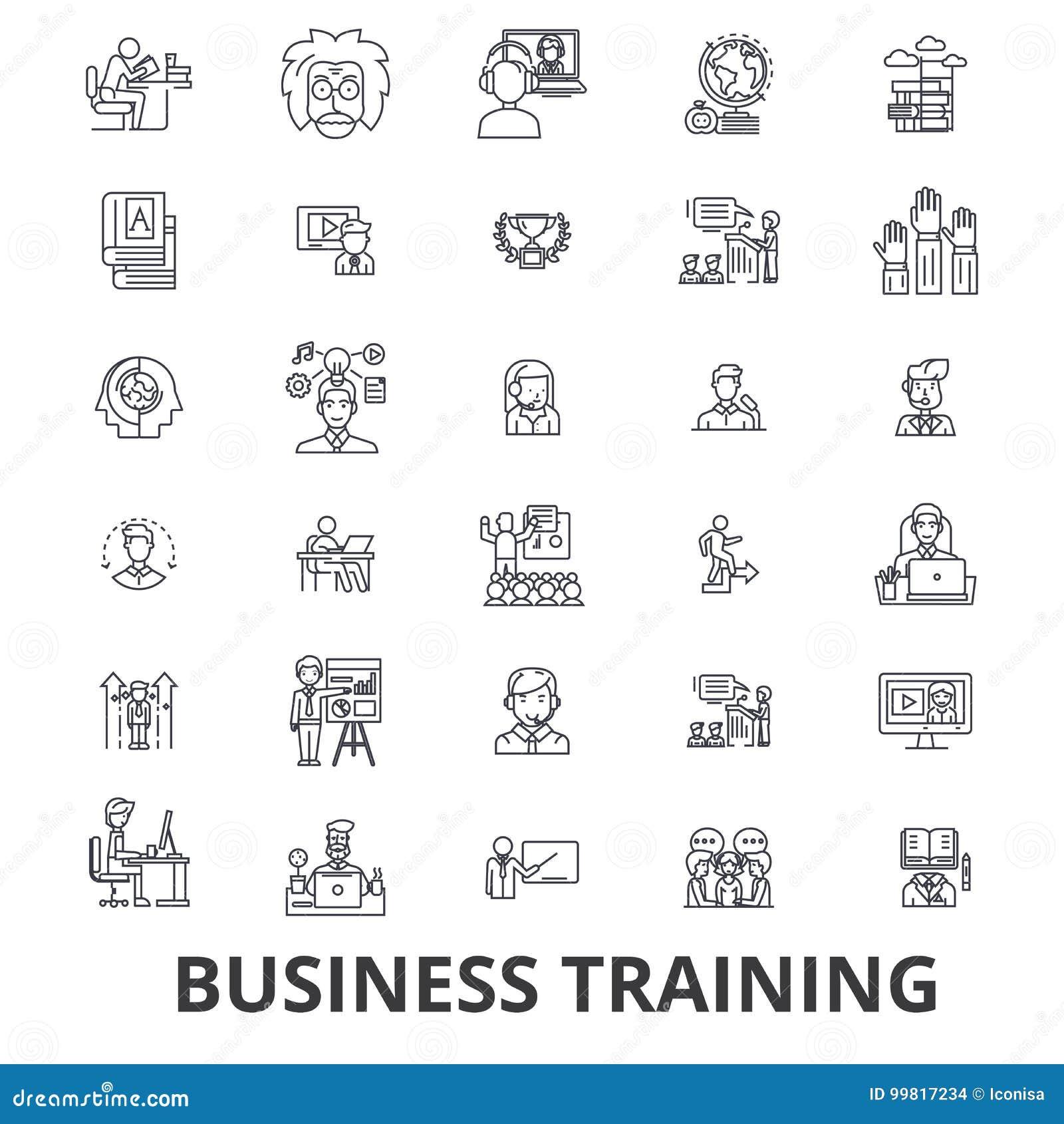 Тренировка дела, встреча, уча, деловая встреча, линия значки представления Editable ходы Плоский дизайн