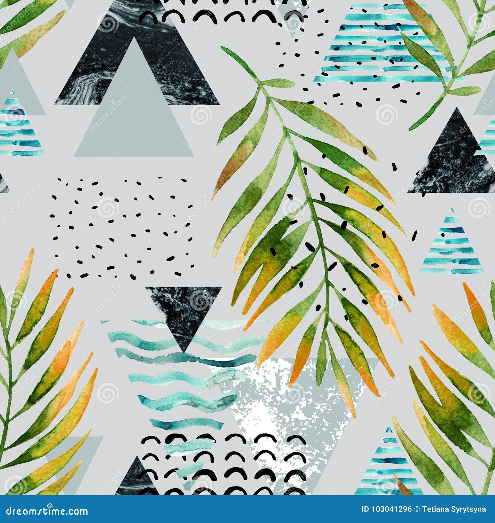 Треугольники с листьями пальмы, doodle, мрамор, текстуры grunge