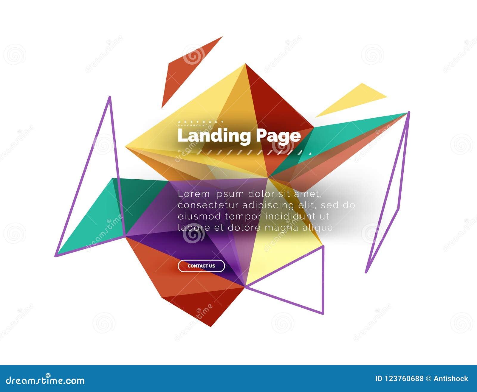 Триангулярная предпосылка конспекта дизайна, приземляясь страница Треугольники низкого поли стиля красочные на белизне