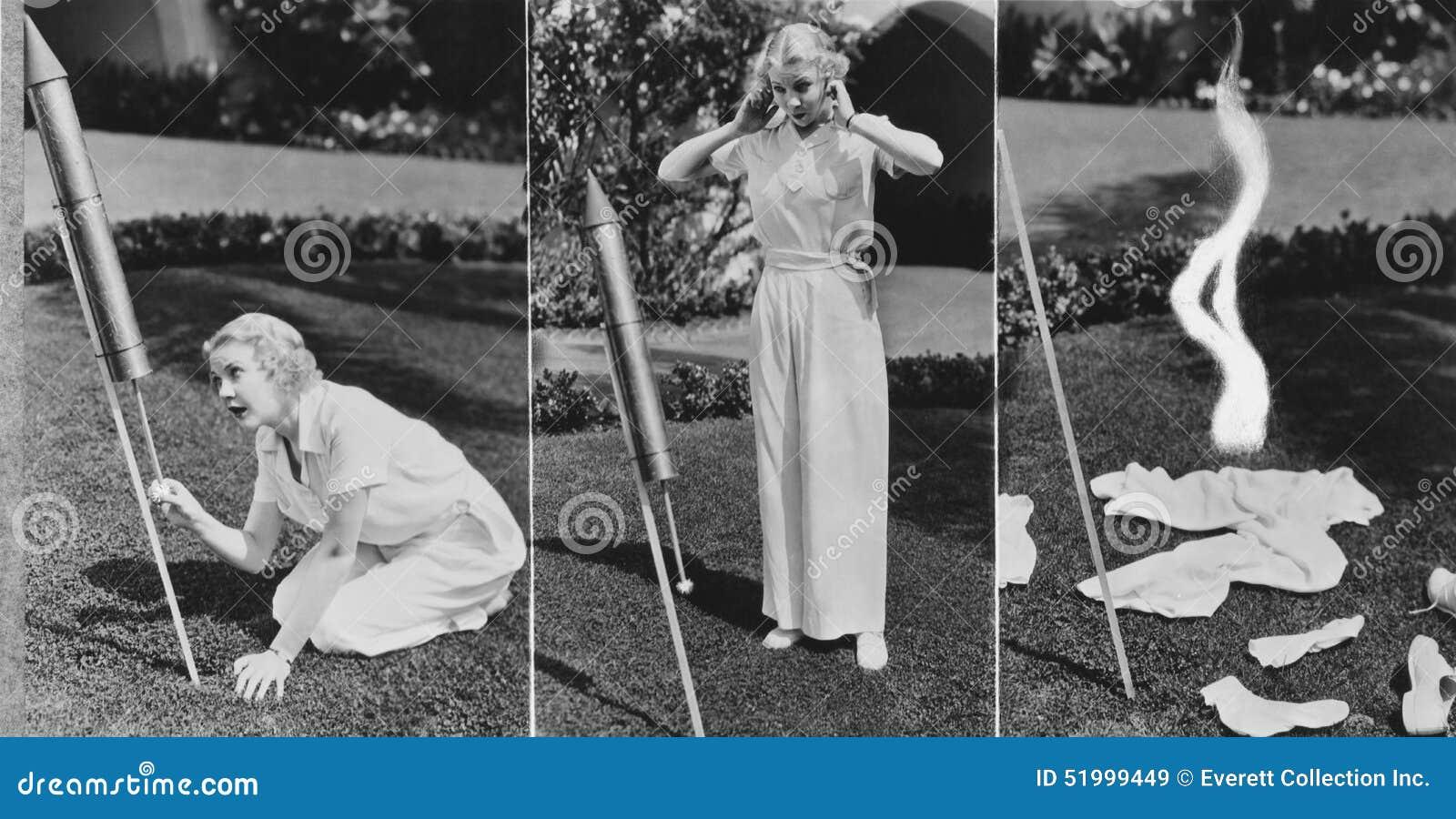 Триптих ракеты освещения женщины и взрывать (все показанные люди более длинные живущие и никакое имущество не существует Warran п