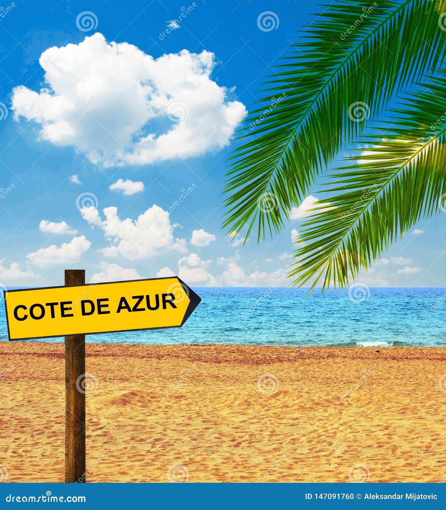 Тропическая доска пляжа и направления говоря КОУТ DE AZUR