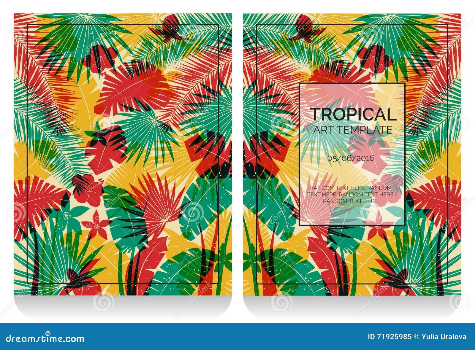 Тропическая иллюстрация джунглей влияния печати смещения