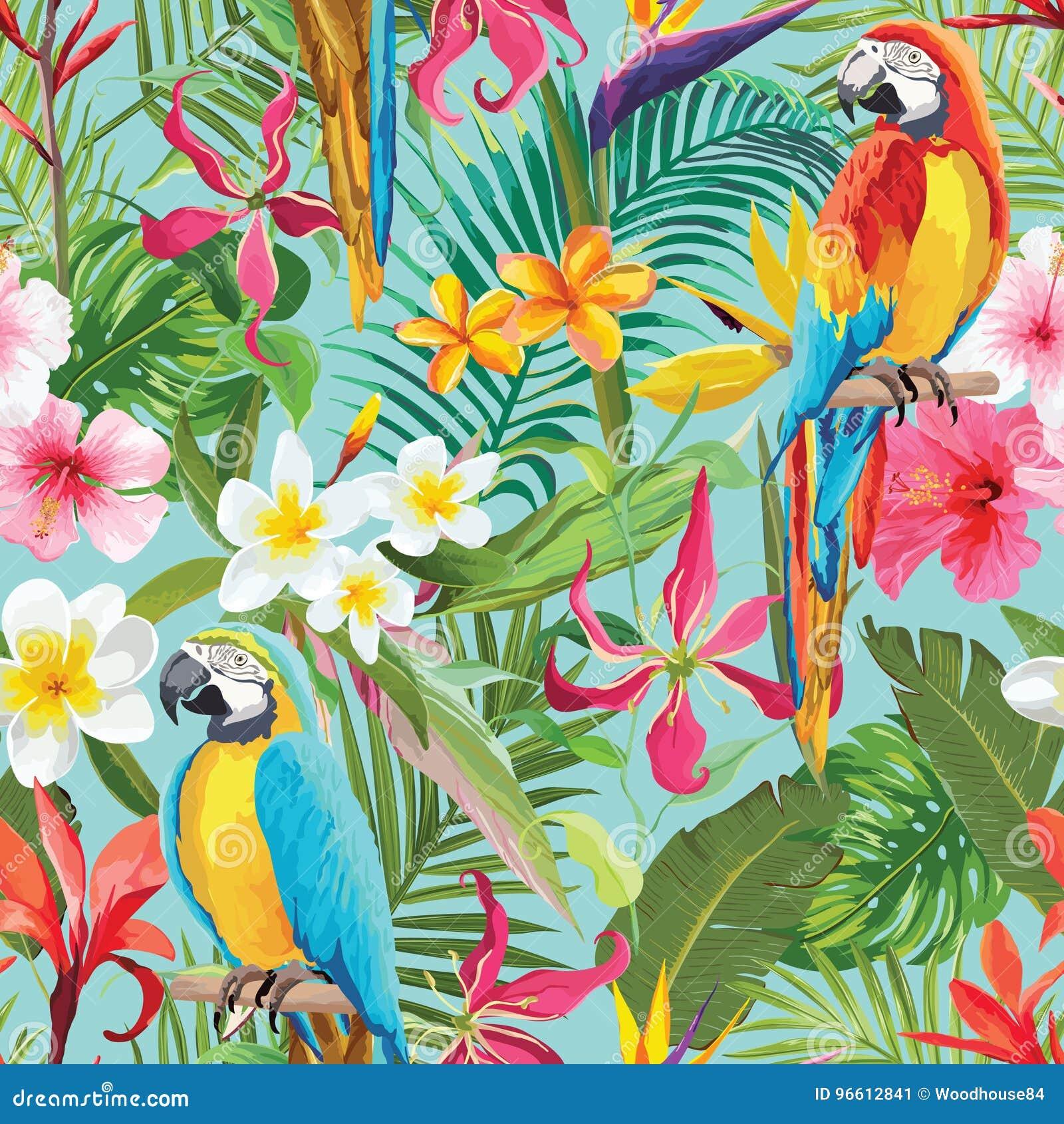 Тропическая картина лета цветков и попугаев безшовная флористическая