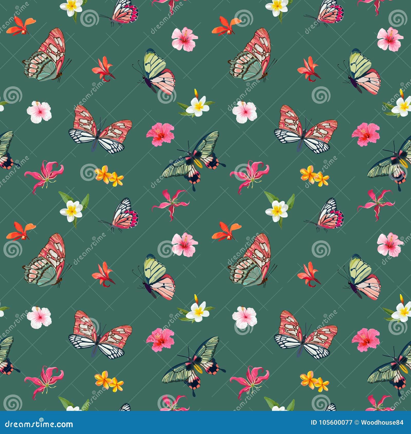 Тропическая картина цветков и бабочек безшовная Флористическая предпосылка джунглей для ткани и ткани