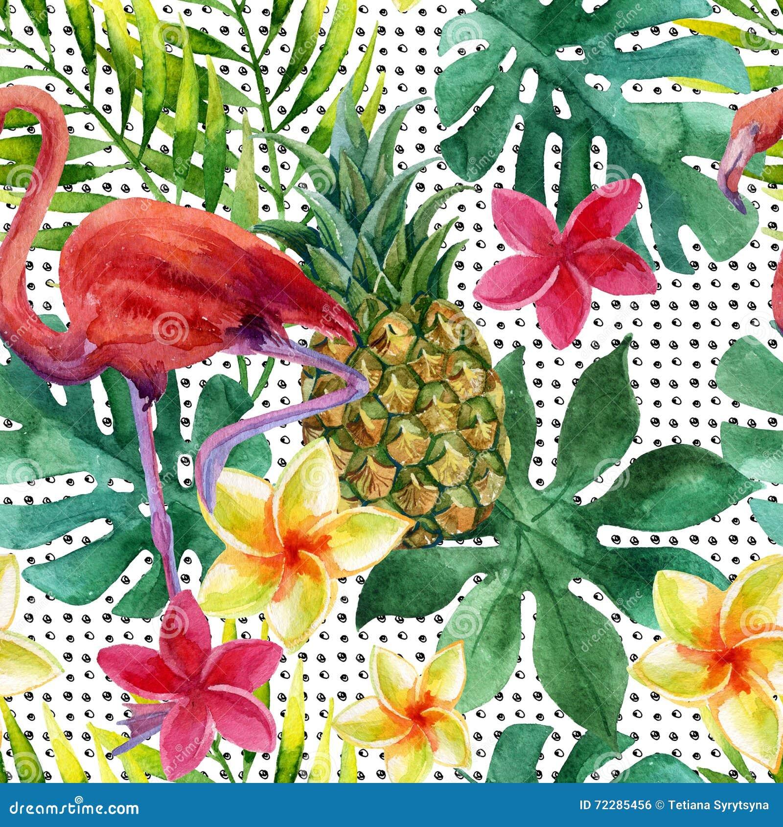 Тропические ананас, цветки и листья акварели с тенями