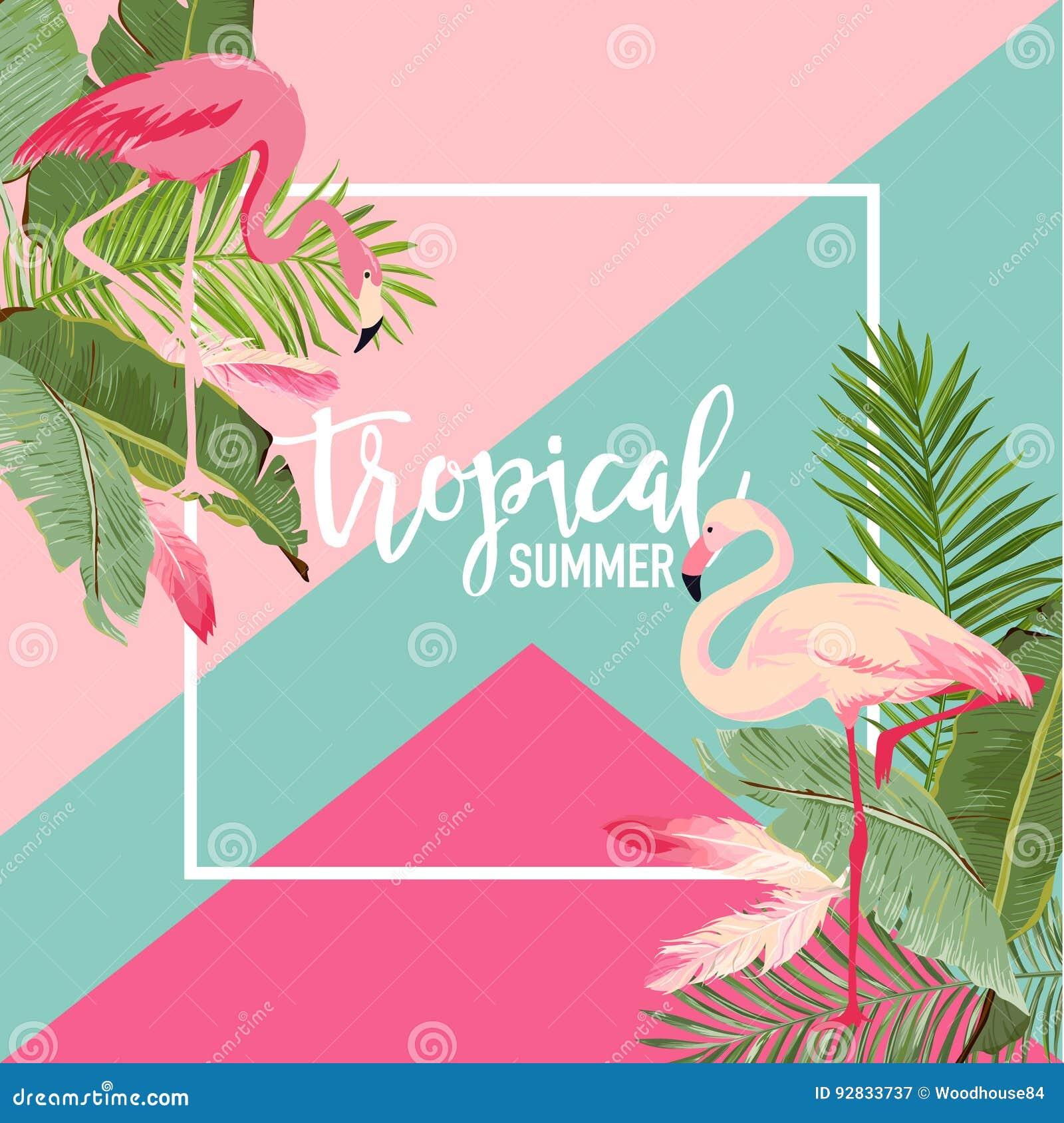 Тропические цветки и знамя лета фламинго, графическая предпосылка, экзотическое флористическое приглашение, рогулька или карточка