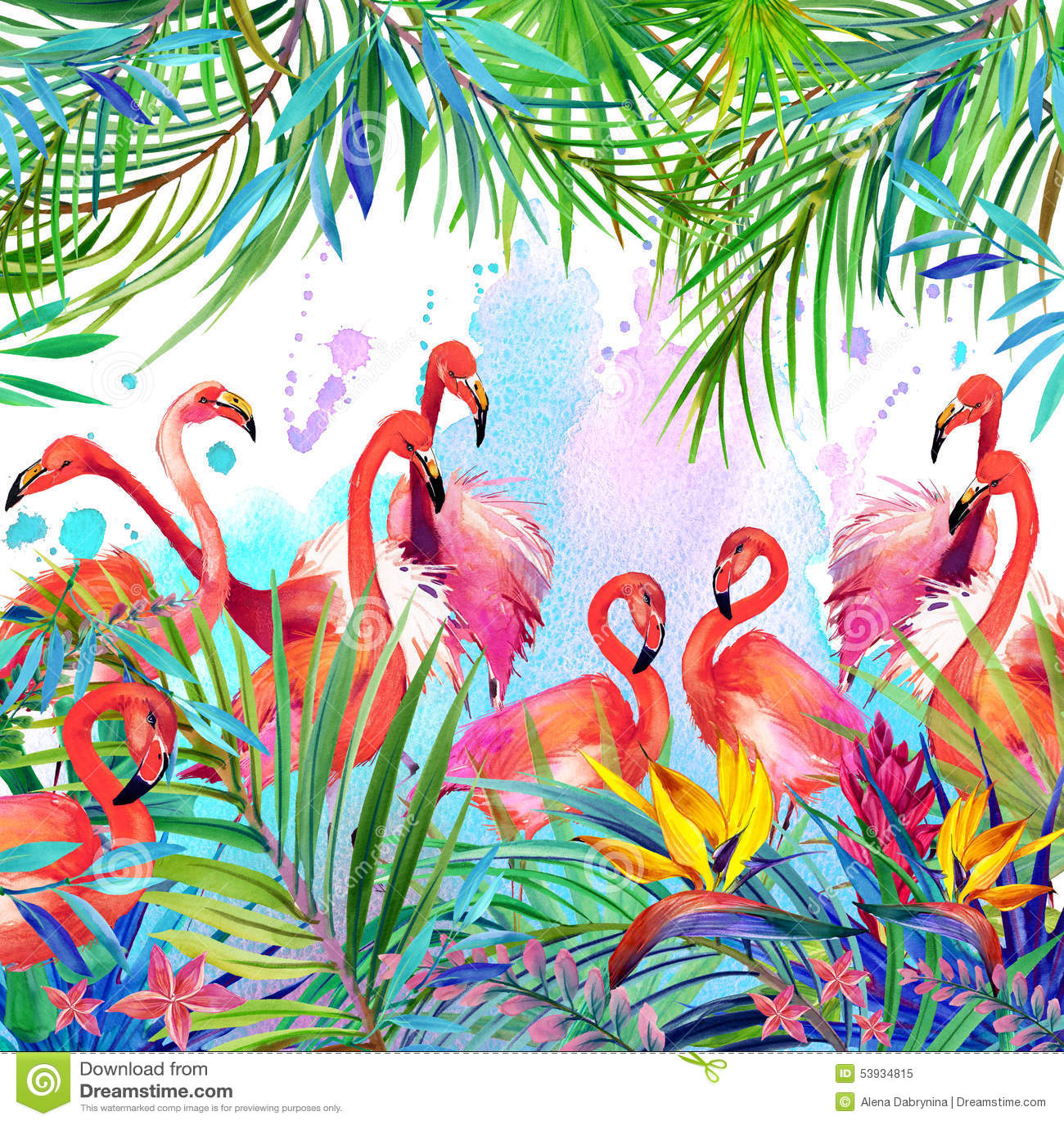 Тропические экзотические птица, листья и цветки