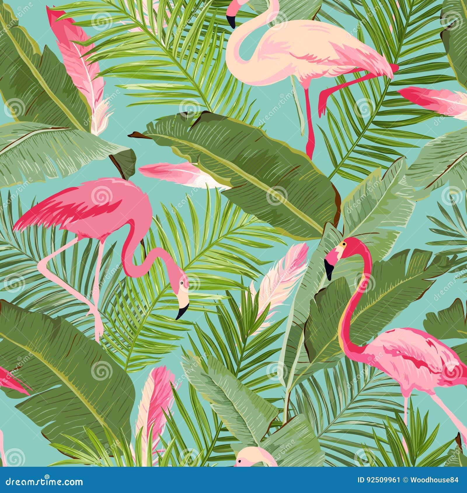 Тропический безшовный фламинго и флористическая картина лета Для обоев, предпосылки, текстуры, ткань, карточки