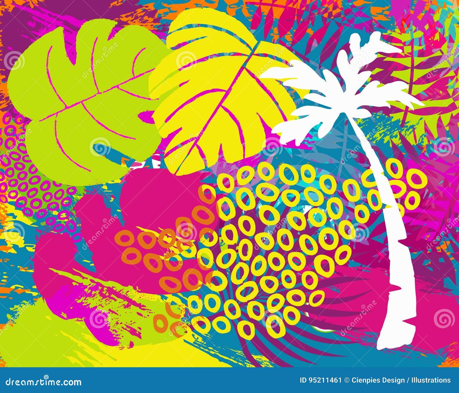 Тропическое абстрактное искусство лист завода джунглей лета