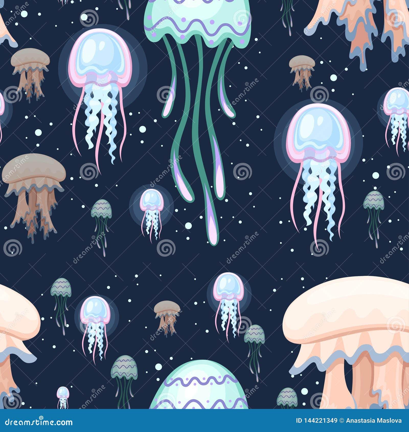 E Красочные медузы Тропическое подводное животное Организм Медузы акватический, дизайн стиля мультфильма r
