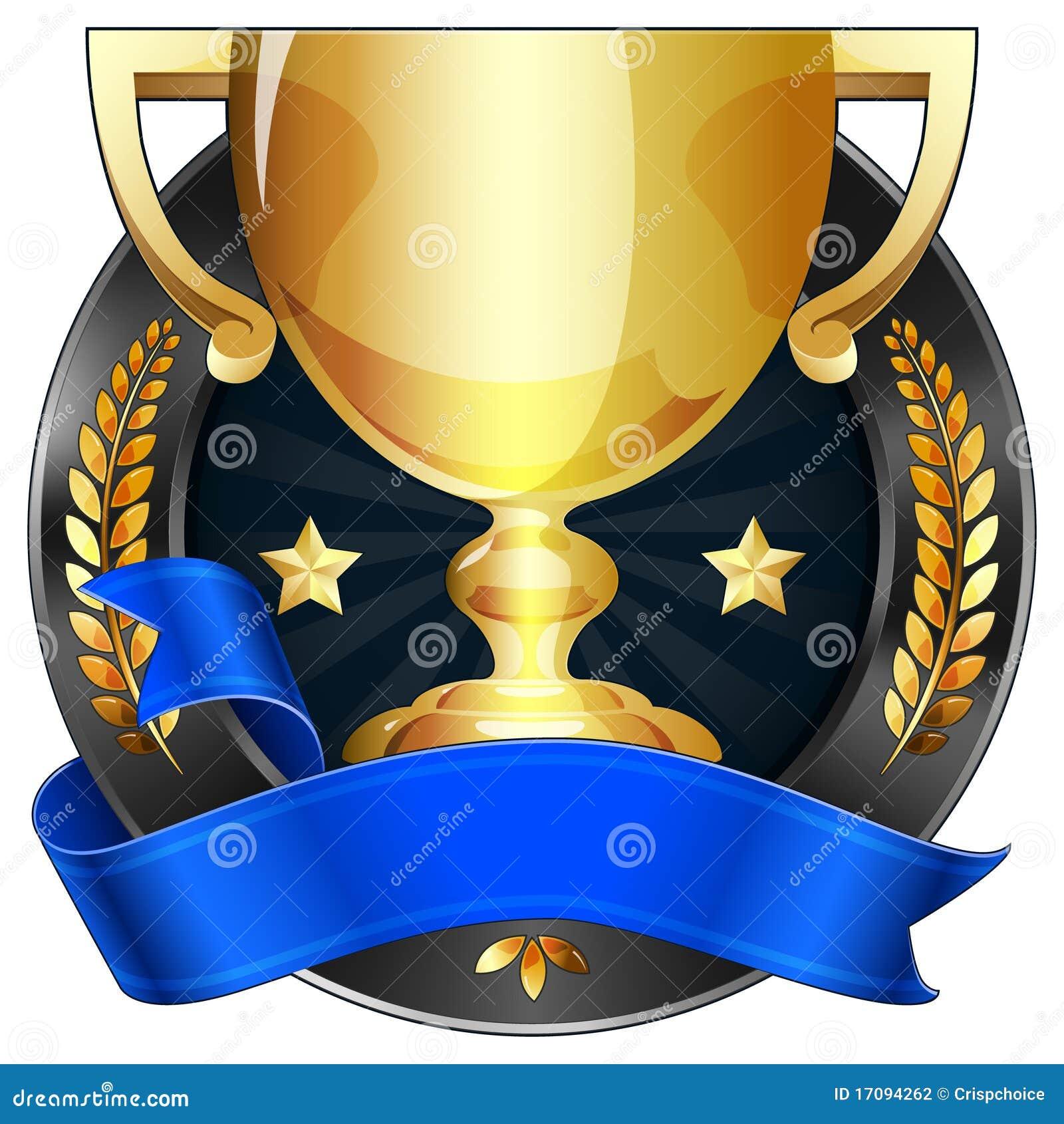 трофей тесемки золота премии за достижения голубой