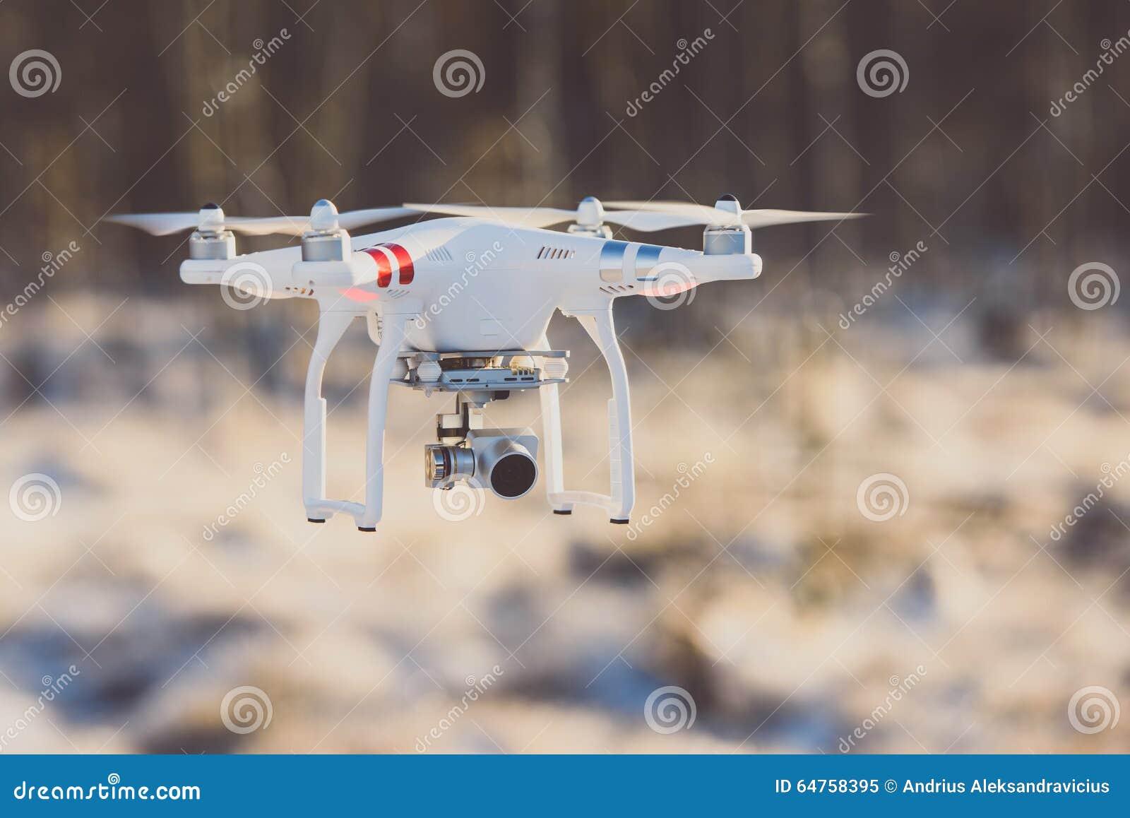 Трутень летания с камерой, сценой зимы